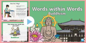 KS1 Buddhism Words within Words PowerPoint Game - Buddhist, Word, Buddha, Activity, Countdown, Buddha