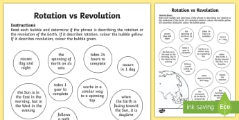 Earth Rotation vs Revolution Activity Sheet - worksheet, ACSSU048, earths movement, day and night, earths place in space, orbit ,Australia, season