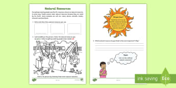 Identifying Natural Resources Science Activity Sheet - ACSSU032, earth's resources, natural resources, grade two sciences,Australia, Worksheet