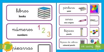 Tarjetas de vocabulario bilingues: El material de la clase English/Spanish  - identificación de material, material escolar, ordenar, organización de la clase,Spanish-translatio