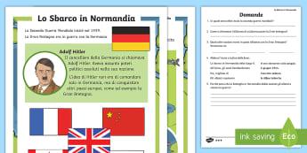 Lo Sbarco in Normandia Lettura Comprensiva Attività - leggere, storia, germania,francia, guerra, mondiale, italiano, italian, materiale, scolastico