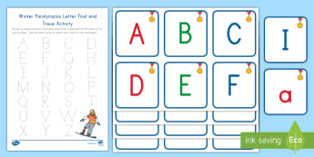 Winter Paralympics Letter Find and Trace Activity - Center Activity, Individual Center, Alphabet recognition, writing, handwriting,