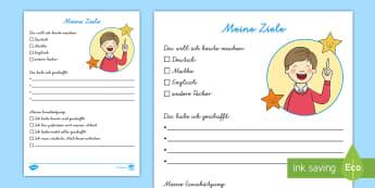 Meine Ziele für die Freiarbeit 2 Arbeitsblatt - DE Klassenorganisation (Classroom Organisation), Freiarbeit, study time,German