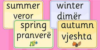 Seasons and Weather EAL Albanian Version - season, weather, EAL