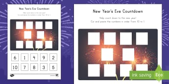 New Year's Eve Countdown Activity Sheet - Count Down, Math Activity Sheet, Cutting Skills, Cut and Glue, Number Recognition, worksheet
