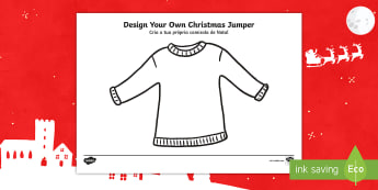 Christmas Jumper Design Cut and Stick Activity Sheet English/Portuguese - Christmas Jumper Design Cut and Stick Activity Sheet - christmas, xmas resources, chritmas, chriatma