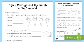 Taflen Weithgaredd Cymhareb a Chyfrannedd - cymarebau, mathemateg, rhif, rhifedd, ratio, ratios,Welsh