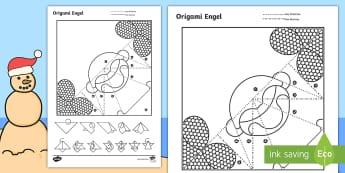 Eenvoudige Origami Kersfees Engel Papier Kuns - Desember, maak, kreatief, fees, vier, knip, plak