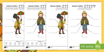 Autumn Clothes Labelling Differentiated Worksheet / Activity Sheet - English/Mandarin Chinese/Pinyin - Autumn, seasons, september, october, topics, ks1, harvest, clothes, worksheet, clothing, wear, weari