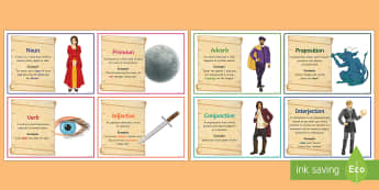 Shakespeare Themed Word Class Flashcards - grammer, KS3 grammar, shakespeare quotations, nouns, verbs, adjectives, adverbs, prepositions, prono