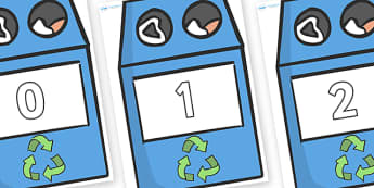 Numbers 0-50 on Eco Bins - 0-50, foundation stage numeracy, Number recognition, Number flashcards, counting, number frieze, Display numbers, number posters