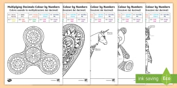 Multiplying Decimals Colour by Number English/Italian - maths, fraction, number, colouring, colours, mathematics, italian, italiano