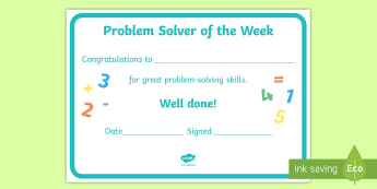 Problem Solver of the Week Certificate - ROI Numeracy, problem solving, certificate, reward, well done