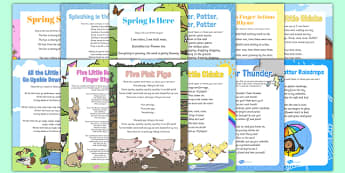 Bumper Springtime Songs and Rhymes Resource Pack - rain, spring animals, weather
