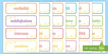 Parole d'ispirazione Attività - etichette, attività, parole, ispirazione, quaderni, italiani, italian, materiale, scolastico