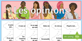Opinions Display Pack French - classroom, organisation, writing, speaking, Ks3, KS4, key phrases, support,French