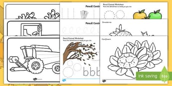Harvest Themed Pencil Control  Activity Pack