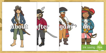 KS1 Keywords on Pirates - KS1, CLL, Communication language and literacy, Display, Key words, high frequency words, foundation stage literacy, DfES Letters and Sounds, Letters and Sounds, spelling