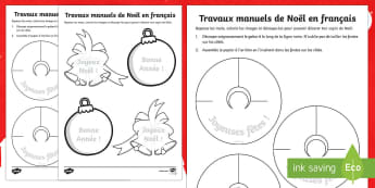 Travaux manuels de Noël en français - french, christmas, crafts, activity