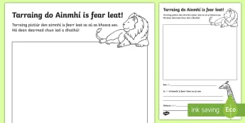 The Zoo Aistear Draw Your Favourite Animal Activity Sheet Gaeilge - Aistear, Infants, English Oral Language, Zoo, Irish, worksheet, Activity, Sheet, Complete the Activi