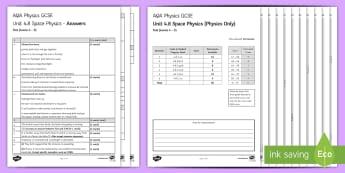 AQA Physics Unit 4.8 Space Physics Test - KS4 Assessment, Test, Space, Centripetal Force, Moon, Satellite, Planet, Force, Gravity, Sun, Milky