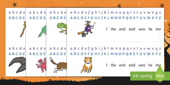 Witch and Animals Alphabet Strips - room on the broom, alphabet strips, alphabet, a-z, -z strips, alphabet tracks, alphabet lines, themed alphabet strips