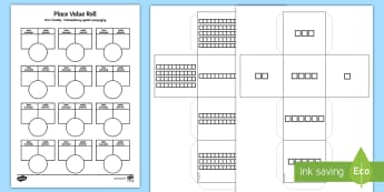 Place Value Roll Dice Worksheet / Activity Sheet English/Polish - Place Value Roll Activity Dice Net And Worksheet - numeracy, visual aid, dice, placevalue, plce valu