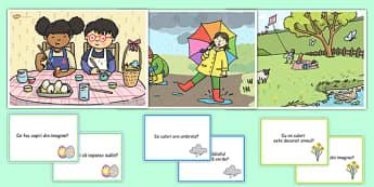 Scenă de primăvară - Planșă cu imagini și întrebări - primăvara, decor, planșe, întrebări, răspunsuri, imagini, planșe, cuvinte, anotimpuri, anotimp, materiale didactice, română, romana, material, material