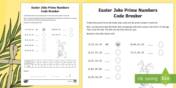 Easter Joke Prime Numbers Code Breaker Worksheet / Activity Sheet - NI, Easter, joke, prime, prime numbers, code, numeracy, maths, Identify common factors, common multi