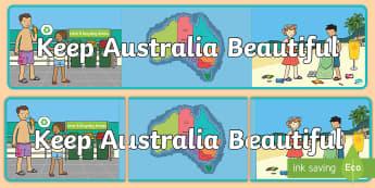 F-2 Keep Australia Beautiful Banner - KAB, Recycling, sustainability, Foundation, Yr 1, Yr 2, litter,Australia