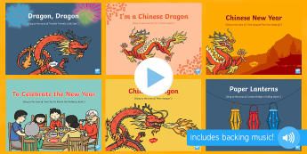 Chinese New Year Songs and Rhymes PowerPoints Pack - EYFS, Early Years, Key Stage 1, KS1, Chinese New Year, festivals, Spring Festival, dragon dance, red
