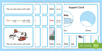 Winter Simple Sentence Cards - reading, sentences, eyfs, word cards, decoding, tricky words, sound button, phoneme, grapheme, phoni