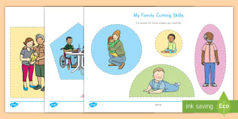 My Family Cutting Skills Activity - fine motor skills, cutting, family, activity