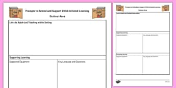 Outdoor Area Adult Support Prompt Sheet Template - planning, plan, outside area, outside, early years, continuous provision, reception, eyfs