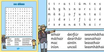 mo chlann Word Search Gaeilge - gaeilge, my family, family, word search, wordsearch