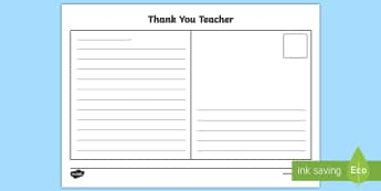 Thank You Teacher Postcard Writing Template - End of the School Year Thank You Note