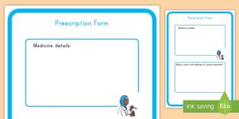 Pediatrician Role Play Prescription Form - pediatrician, role-play, prescription, form, pretend, hospital, doctor, nurse, writing, list,
