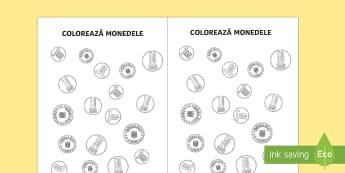 Colorează monedele - Fișă de lucru - unități de măsură, bani, monede, matematică, măsuri,fișe, materiale, Romanian