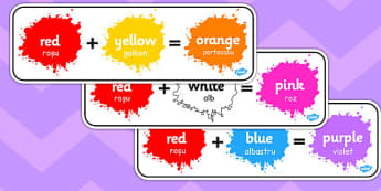 Colour Mixing Pack Romanian Translation - art, paint, together, add, swirl, stir, ks1, key stage 1, ks2, sort, combine, create, mix, green, red, yellow, blue, primary,