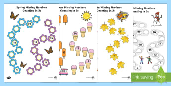 Seasons Path Missing Numbers Counting in 3s Worksheet / Activity Sheet - Winter, worksheet, maths, counting, counting in 3s, number recognition, worksheet / activity sheet, spring, summ