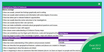 KS3 Geography Report Statements Differentiated Spreadsheet - assessment, report, writing, descriptors, KS3