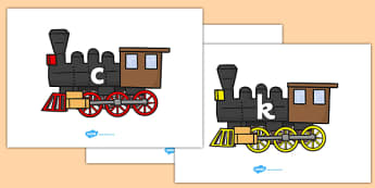Phase 2 Phonemes on Trains - Phonemes, phoneme, Phase 2, Phase two, Foundation, Literacy, Letters and Sounds, DfES, display