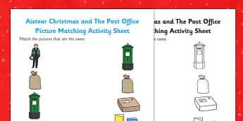 Aistear Christmas and The Post Office Picture Matching Activity Sheet - roi, irish, gaeilge, Matching, Aistear, Picture, The Post Office, Colouring, worksheet