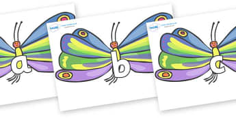 Phase 2 Phonemes on Butterflies to Support Teaching on The Very Hungry Caterpillar - Phonemes, phoneme, Phase 2, Phase two, Foundation, Literacy, Letters and Sounds, DfES, display