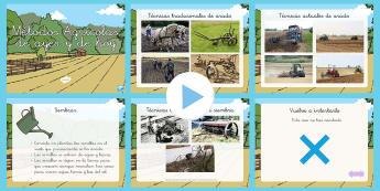 Presentación: Métodos agrícolas de ayer y de hoy - cosecha, sembrar, arar, granjas, en la granja, la producción de comida, crecer,Spanish