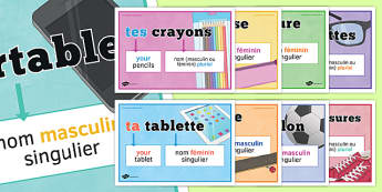 Adjectifs possessifs posters French Possessive Adjectives Classroom Display Posters - french, possessive, adjectives, classroom, display posters
