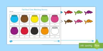 Fish Bowl Color Matching Activity Mat - pets, family pets, classroom pets, color matching, pets activity mat, pet color matching, activity m