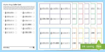 6/8 Rhythm Bingo - starter, plenary, game, triplet, 6/8 rhythm, compound time,