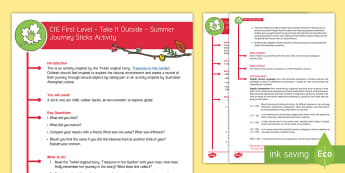 CfE First Level - Take It Outside – Summer Journey Sticks Activity - Outdoor, Woodland, Literacy, Oral, Create, Sentences, Retell, stories,Scottish