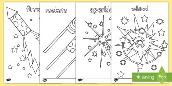 Fireworks Themed Coloring Worksheet / Activity Sheets - fireworks, 4th of July, Independence Day, celebrations, color, coloring, art, worksheets